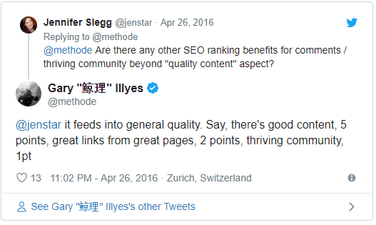 blog comments ranking factor